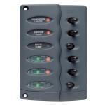 Tableau 6 interrupteurs et Fusibles + 6 voyants LEDs Aqua Signal