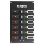 Tableau 6 interrupteurs et disjoncteurs + 6 voyants LEDs Aqua Signal