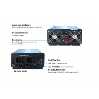 Convertisseur 12V-2000W pure sinus + USB 5V