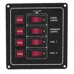 Tableau 4 interrupteurs et Fusibles + 4 voyants LEDs