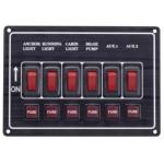 Tableau 6 interrupteurs et fusibles + 6 voyants LEDs