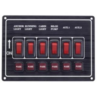 Tableau 6 interrupteurs et fusibles + 6 voyants LEDs Horizontale