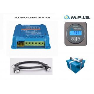 PACK Régulateur MPPT 75/15A + Contrôleur/afficheur + Câble spécial