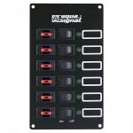 Tableau 6 interrupteurs Aqua Signal + 6 voyants LEDs + 6 disjoncteurs