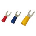 Cosses isolée à fourche jaunes à sertir. 4/6mm²