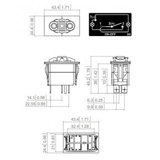 Interrupteur à bascule ON/OFF Carling 12/24V 10/20A LED